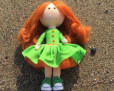 Bright redhead girl Doll as corporate mascot Apple green dress OOAK textile tilda doll Art cloth fabric office decor doll