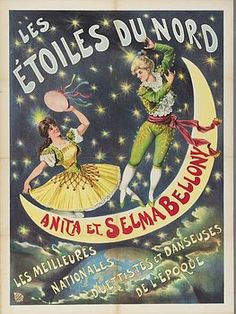 """""""The North Stars, Anita et Selma Bellony, National Duo and the Best Dancers of the Era""""   - Vintage French Sideshow Poster"""