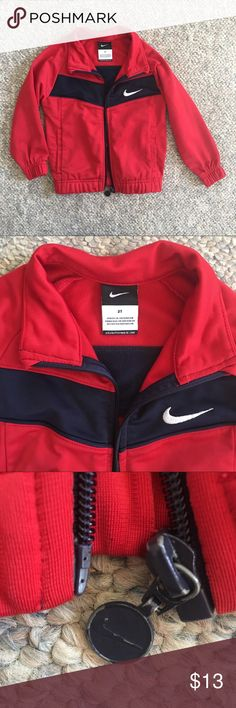 NIKE 2t Toddler Boy zip up jacket My son just grew out of this within the last Month. Good used condition. Red & navy. Zipper works! Signs of wear shown on zipper and back of jacket - see photos. No stains!  Same / next day shipping!! Nike Jackets & Coats