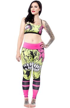 The zombie apocalypse never looked so good! These zombie faced leggings will have you getting prepared in style and building your strength for that long journey ahead of fearing the walking dead. These work out leggings feature Iron Fist's popular Zombie Emo Outfits, Fashion Outfits, Zombie Face, Sourpuss Clothing, Women's Leggings, Jeggings, Casual Cosplay, Iron Fist, Workout Outfits