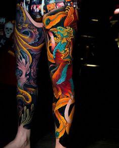 Search inspiration for a Japanese tattoo. Japanese Leg Tattoo, Japanese Tattoo Symbols, Japanese Dragon Tattoos, Japanese Tattoo Designs, Japanese Sleeve Tattoos, Japanese Phoenix Tattoo, Irezumi Tattoos, Yakuza Style Tattoo, Geisha Tattoos