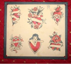 earl-brown-hearts by Vintage Tattoo Flash, via Flickr Traditional Tattoo Inspiration, Traditional Tattoo Design, Antler Tattoos, Old Tattoos, Tattoo Flash Sheet, Tattoo Flash Art, Borneo, Berg Tattoo, Tattoo Ink