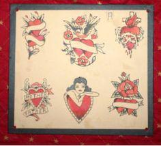earl-brown-hearts by Vintage Tattoo Flash, via Flickr