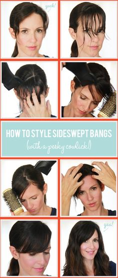 how to style bangs with cowlicks