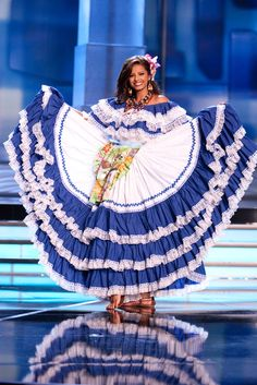 Belgica Suarez, Miss Honduras 2009 in the country's traditional costume by rui_chino Folk Costume, Costumes, Mexican Skirts, Flamenco Skirt, World Thinking Day, Blue And White Dress, Traditional Dresses, Beautiful People, Dress Up