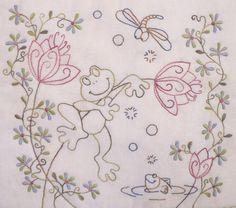 Ribbit Quilt Pattern by Teddlywinks on Etsy Vintage Embroidery, Embroidery Applique, Embroidery Patterns, Cross Stitch Patterns, Quilt Patterns, Machine Embroidery, Quilting Blogs, Embroidered Quilts, Lana