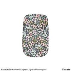 Black Multi-Colored Graphic Floral Nail Art Decals Minx® Nail Art