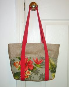 Burlap and Hawaiian print bag.