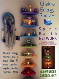Chakra shelves. Pagan Wiccan Witch craft inspiration. Great for urban witches! Use any tight corner! It's wasted space anyway, may as well make it pretty.: