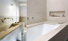 de badkamer straalt rust uit dankzijde kleuren het contrast en de egale vlakken daarnaast vind ik de materiaal kueze ook erg mooi