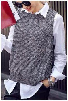Ärmelloser Pullover, Pullover Sweaters, Cardigans, Crochet Shirt, Knit Crochet, Moogly Crochet, Knitting Stitches, Knitting Designs, Knit Vest Pattern