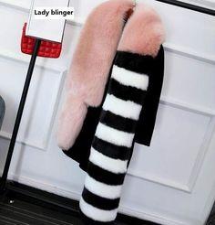 High quality faux fox fur pashmina long fur scarf tail pink striped fur shawl scarf luxrious rose red and black fur muffler