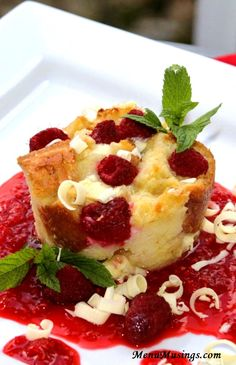 Menu Musings of a Modern American Mom: Individual White Chocolate and Raspberry Bread Puddings