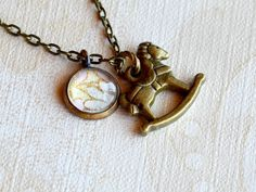 sweet little brass charm of a rocking horse with a tiny handmade glass stone charm Dainty Necklace, Pendant Necklace, Carousel Horses, Brass Chain, Daydream, Antique Brass, Dangles, Charmed, Pairs
