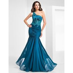 Trumpet/Mermaid One Shoulder Floor-length Tulle And Chiffon Evening/Prom Dress – USD $ 159.99