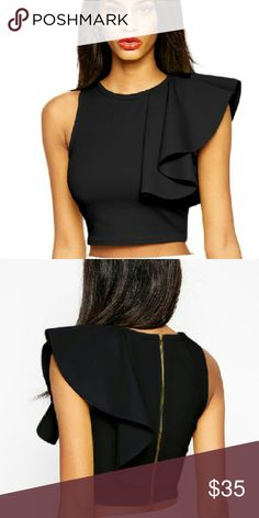 GOod EveNing Clothing One Piece One Flarred Sleeve Crop Top fits a Women's dress size 0 to 7 Tops Crop Tops