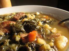 Kielbasa Potato Soup with Caramelized Onions and Kale Chips