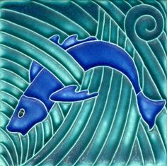 4x4 Fish in Turquoise Cobalt by Motawi Tileworks