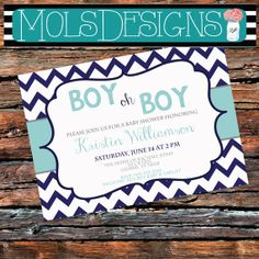 ANY Color Boy Oh Boy BABY SHOWER Blue Grey Aqua Light Chevron Bridal Couples Birthday Wedding Sip N See Rehearsal Family Reunion Invitation