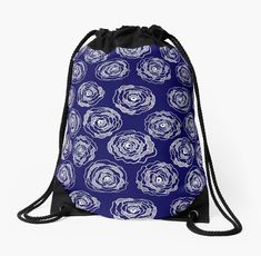Buy 'Doodle Roses' Navy Blue and White Drawstring Bag by Notsundoku | Redbubble. A repeat pattern of hand drawn doodle roses. #repeatpattern #patterns #roses #doodles #doodleart #flowers #handdrawn #Notsundoku # Redbubble  #drawstringbags #bags #laundrybags