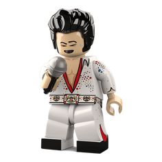 Custom design minfigure - The King - One of the most celebrated and easily recognisable celebrities from the early 60's. The 'King' can quickly become a Rock and Roll legend and music icon in your toy box thanks to famous titles such as 'Suspicious Studs', 'Can't Help Falling in LEGO' and 'Blue Suede Bricks'.