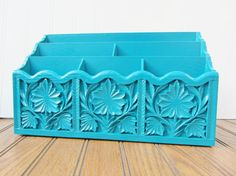 Desk Organizer in Peacock Blue Vintage Upcycled Ornate Office Desk Decor  - Custom Color Available