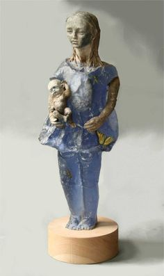Christina Bothwell ingeniously combines the translucent nature of glass, the solid nature of raku clay and the organic nature of found matter to create ethereal, macabre figures.From the artist: 'I think of these pieces as souls, each being pregnant with their own potential, giving birth to new, improved versions of themselves'