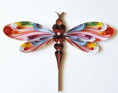 """Quilled Paper Art: """"Colourful Dragonfly"""" - Dragonfly Wall Art - Handmade Artwork - Paper Wall Art - Home Decor - Wall Decor - Quilled Art Neli Quilling, Quilling Images, Quilling Butterfly, Paper Quilling Patterns, Paper Quilling Jewelry, Origami And Quilling, Quilled Paper Art, Quilling Paper Craft, Quilling Ideas"""