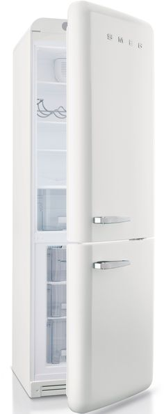 Smeg FAB32U 11.7 cu. ft. Bottom Freezer Refrigerator with 3 Adjustable Glass Shelves, 1 Produce Crisper, 3 Adjustable Door Bins, Egg Holder, 2 Freezer Drawers, Pull-Down Flap Compartment and Ice Tray