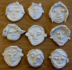 Self-Portraits Crayola Model Magic Clay Second grade students loved creating self-portraits out of clay. talk about proportion, symmetry. Can pre-color the model magic with markers and knead the color into the model magic to create different colors f Clay Projects For Kids, Clay Crafts For Kids, Kids Clay, Self Portrait Art, Model Magic, Atelier D Art, Clay Faces, Ceramics Projects, Kindergarten Art