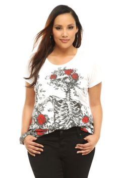 Doe - Grateful Dead White Skeleton And Roses Tee