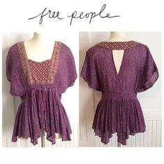 Free People Peasant Blouse Beautifully made with a cutout back and drawstring waist. Great condition. Feel like my pics show color and texture better than stock. Free People Tops