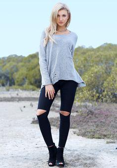 Cutout-Knee Skinny Pants