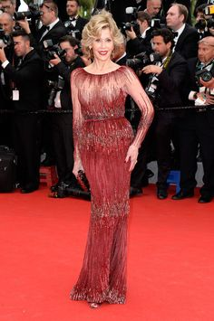 Jane Fonda in Elie Saab Couture attends the 'Grace of Monaco' Premiere during the 67th Annual Cannes Film Festival. #bestdressed