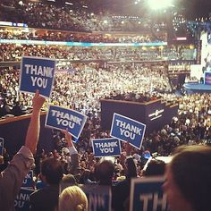 It's amazing to see the entire convention center holding up thank you for our veterans. #dnc2012