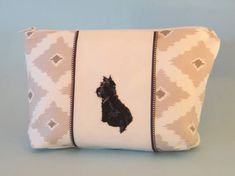 Appliqued zipper bag, machine embroidered, scottie dog, textile art, white and grey purse, lined cosmetic bag, Scottish terrier dog