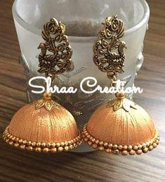 Silk Thread Jhumka With Peacock Stud #silkthreadjewellery #Traditionalearrings #goldencolour #oxidisedstud #handmadejewellery