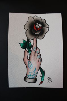 4a7ccc96245ec Items similar to Tatted Hand & Rose - Original Liquid Watercolor Traditional  Tattoo Flash on Etsy