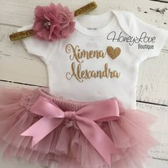 PERSONALIZED SET gold glitter shirt bodysuit, dusty rose vintage pink ruffle tutu skirt bloomers, gold glitter flower headband newborn infant toddler little baby girl take home coming home hospital outfit by HoneyLoveBoutique
