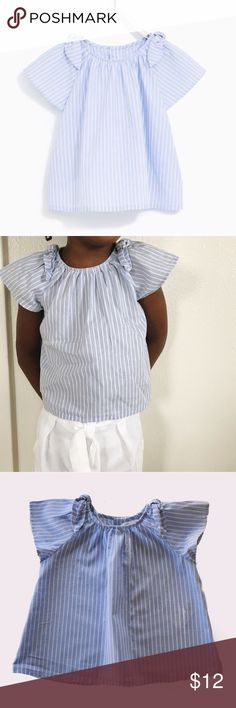 Zara Striped Top with Bow Detail for Toddler Girl Zara | size 2/3 years | measures 13 inches from shoulder to hem | button closure on back | bow detail on shoulders | all pictures taken by me product shown as is (with the exception of the photo taken from their site) Zara Shirts & Tops Blouses