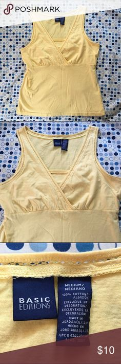 Pale Yellow Tank Top This pale yellow tank top is in great condition. It has nice detailing on the boarder of the tank. No holes or stains. Basic editions Tops Tank Tops