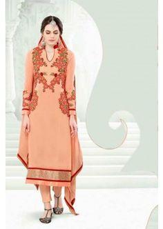 Peach Georgette Salwar Kameez, - £65.00, #FashionUK #DesignerSuit #OnlineDresses #Shopkund