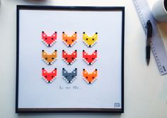 Framed foxes hama bead art by Saraseir Perler Bead Designs, Diy Perler Beads, Pearler Beads, Hama Beads Patterns, Beading Patterns, Color Patterns, Knitting Patterns, Crafts To Do, Bead Crafts