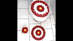 Juego de baño en crochet: flor