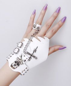 Single glove price is 24 dollars. Featuring a leather main with sword design and twin pin buckle fastening to the side, and a finger less design, attached is a bracelet with a skull on cross design to