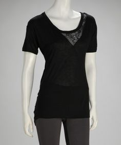 Take a look at this Black Lace Panel Short-Sleeve Top by Four Seasons by Planet B on #zulily today! $20