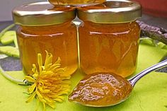 Dandelion jelly by noraa Chutney, Dandelion Jelly, Red Fish, Beverages, Drinks, Preserves, Salsa, Food And Drink, Jar