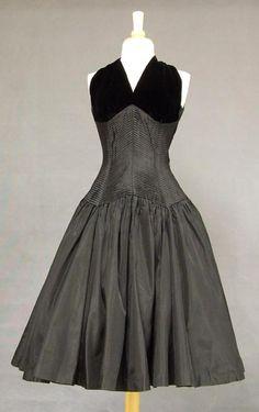Black Taffeta & Velvet 1950s Cocktail Dress