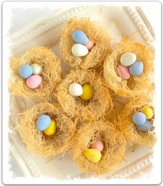 Edible Easter Egg Nests - Can use candies or a pudding topped with Easter candy. @Elizabeth Goold these would be cute too!
