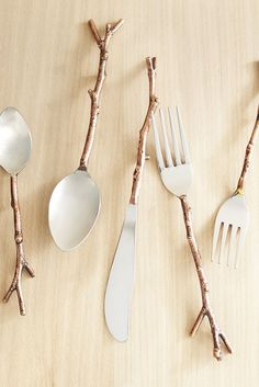 Gather up a bundle of Pier 1's Arbor Flatware for a nature-loving friend. The twig-shaped handles proudly convey an affinity for the outdoors. The bronze-finish brass handles have stainless steel conventional heads. Set includes four each: Salad fork, dinner fork, dinner knife, dinner spoon and teaspoon.